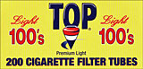TOP CIGARETTE FILTER TUBES LIGHT 100S 200CT BOX
